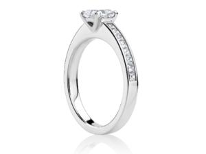 Princess cut diamond engagement ring with diamond band - side view